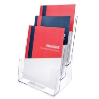 Deflecto Brochure Holder A4 3Tier Clear 77301