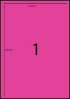 Rediform Colour Labels A4 Bx100 (1/sh) 210x295 Flouro Pink