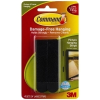 Command Adhesive 3M Picture Hanging Strips Large Black 4 Sets