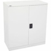 Go Steel Stationery Cupboard 1000H 2 Shelf White
