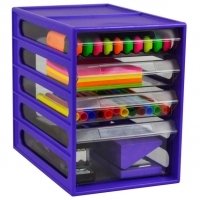 ITALPLAST 4 DRAWER OFFICE Organiser Cabinet Grape