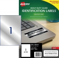 Avery Laser Label  L6013 Heavy Duty Silver PK20 1/sh 199.6x289.1