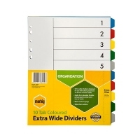 Divider A4 PVC Color 10Tab Extra-Wide Marbig 36200