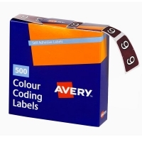 Avery Coding Label Numeric BX500 43249 (9) 25x38mm Brown