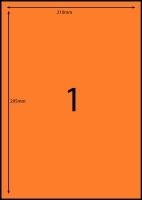 Rediform Colour Labels A4 Bx100 (1/sh) 210x295 Flouro Orange