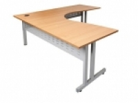Rapid Span Corner Workstation 1800x1500x700 Beech/Silver Leg