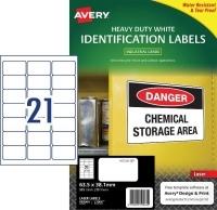 Avery Laser Label  L7060 Heavy Duty PK25 21/sh 63.5x38.1mm