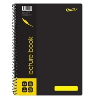 Quill Lecture Book 70gsm PP 10506A A4 140 Page PK10 Black