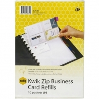 Marbig Kwik Zip Business Card Binder A4 Refills Pkt10 20610