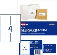 Avery 938206 General Use Labels L7169GU BX100 4/sheet 99.1x139mm