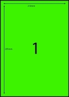 Rediform Colour Labels A4 Bx100 (1/sh) 210x295 Flouro Green