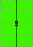 Rediform Colour Labels A4 Bx100 (8/sh) 104x74 Flouro Green