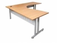 Rapid Span Corner Workstation 1500x1500x700 Beech/Silver Leg