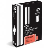 Olympic Manilla Folders Coloured Fcap BX100 Orange