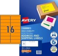 Avery Laser Label L7162FO PK25 sheets 16/Sheet Flouro Orange