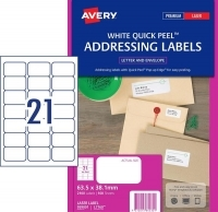 Avery Laser Label L7160 BX100 21/sheet