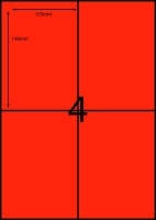 Rediform Colour Labels A4 Bx100 (4/sh) 104x148 Flouro Red