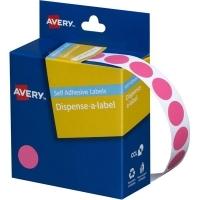 Avery Dispenser Label 14mm Pink BX1050