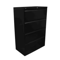 Go Lateral Filing Cabinet 4 Drawer Black