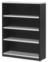 LOGAN BOOKCASE 3 Shelf 1200x900 White & Ironstone