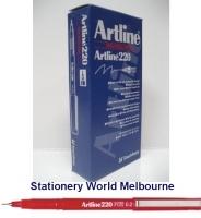Artline Fineliner Marking Pens No 220 (0.2mm) BX12 Red