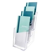 Deflecto Brochure Holder DL 4Tier 77701 Clear