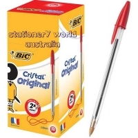 BIC CRISTAL BALLPOINT PENS BX50 Med Red