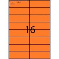 Rediform Colour Labels A4 Bx100 (16/sh) 105x37 Flouro Orange