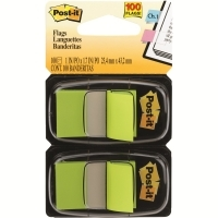 3M Post It Flags 680-BG2 Bright Green Twin Pack 2 Cards of 50