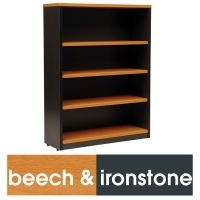 LOGAN BOOKCASE 3 Shelf 1200x900 Beech & Ironstone