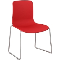 ACTI SC SLED BASE CHAIR Chrome Frame With Plastic Shell Red