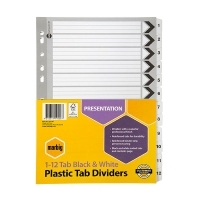 Divider A4 Manilla Reinforced Black/White 1-12 Marbig 35119