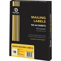 Olympic Labels A4 BX100 (Ctn-5bxs) (18/sheet) 63.5 x 46.6mm