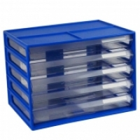 ITALPLAST A4 DOCUMENT CABINET 5 Drawer Blueberry Clear