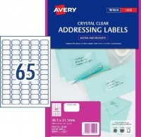 Avery Clear Laser Label L7551 PK25sheets 65/sheet 38.1x21.2 mm