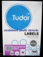 Tudor Laser Inkjet Labels A4 BX100 141073 (16/sh) 105x37mm