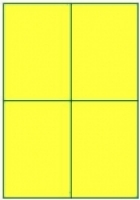 Custom Label 413 A4 BX100 4/sheet Fluro Yellow 105x147.6