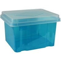 Italplast Storage Box 32 litre i307TBL Tinted Blue+ClearLid