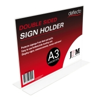 Deflecto Sign Holder Double Sided T-Shape A3 Landscape 48011