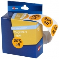 Avery Dispenser Label Circle 24mm PK500 Printed 20% off