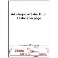 Integrated Label Forms LF9539-2 PK500 2/sheet 95x39mm