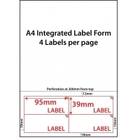 Integrated Label Forms LF9539-4 PK500 4/sheet 95x39mm