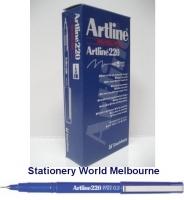 Artline Fineliner Marking Pens No 220 (0.2mm) BX12 Blue