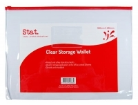 STAT Doc Wallet Resealable PVC 390x285mm 43962 Extra Large Clear