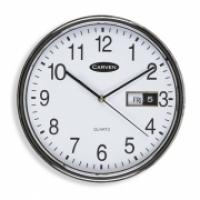 Carven Wall Clock 285mm Silver Rim + Date CL285SDATE