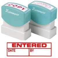 XSTAMPER STAMP - Entered/Date/By (Red) 1534 (5015340)