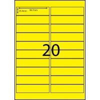 Rediform Colour Labels A4 Bx100 (20/sh) 98.7x25.4 Flouro Yellow