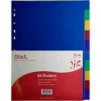 Divider A4 PVC Assorted 10Tab Color STAT 47125