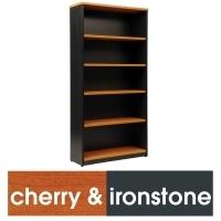 LOGAN BOOKCASE 4 Shelf 1800x900 Cherry & Ironstone