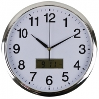ITALPLAST LCD WALL CLOCK 36cm Chrome Frame / White Face